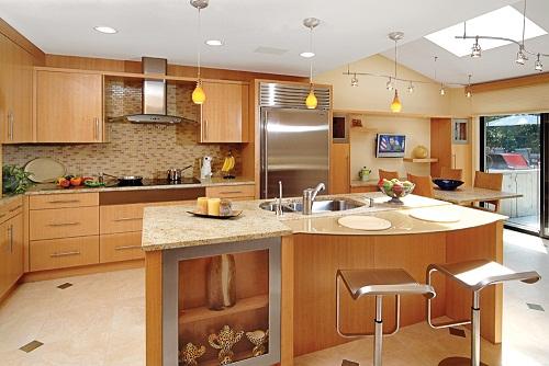 Tủ Bếp Có Bàn Đảo - Gỗ Huỳnh Đàng Cao Cấp -005