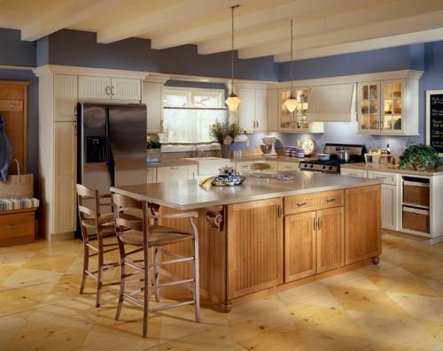 Tủ Bếp Có Bàn Đảo Đẹp Cho Nhà Phố Hiện Đại ,Gỗ Sối Sơn Trắng -028