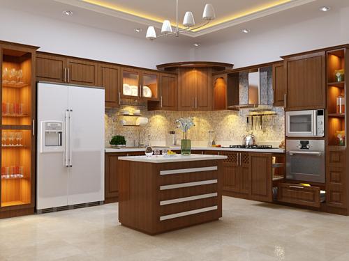 Tủ Bếp Có Bàn Đảo - Gỗ Xoan Đào Cao Cấp -017