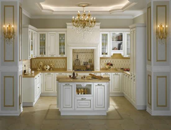 Tủ Bếp Cổ Điển Châu Âu Cho Nhà Phố - Gỗ Cao Su Đẹp Hiện Đại-028