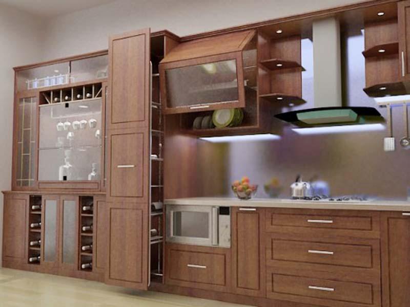 Tủ Bếp Dạng Chữ I Cổ Điển Gỗ Cẩm Lai -015