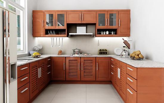 Tủ Bếp Dạng Chữ U Đơn Giản - Gỗ Căm Xe -013