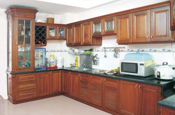 Tủ Bếp Dạng Chữ L Sang Trọng Cho Nhà Phố - Gỗ Căm Xe -048